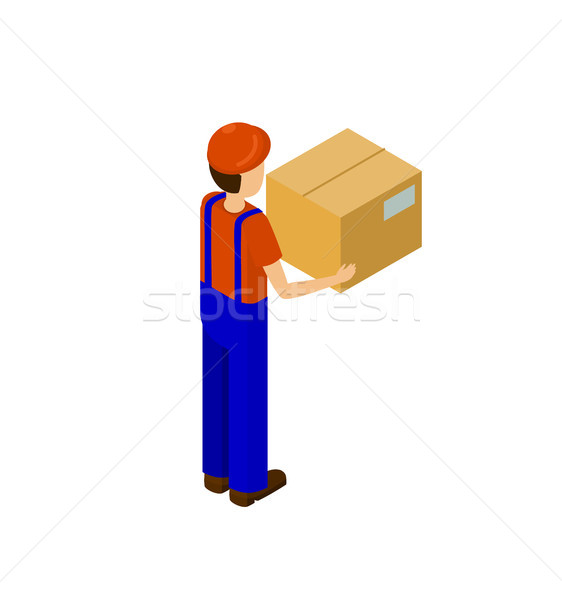 Delivery Service Man with Paper Box Back Vector Stock photo © robuart