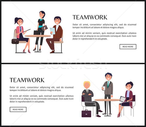 Travail d'équipe affaires principale composante web bannières Photo stock © robuart