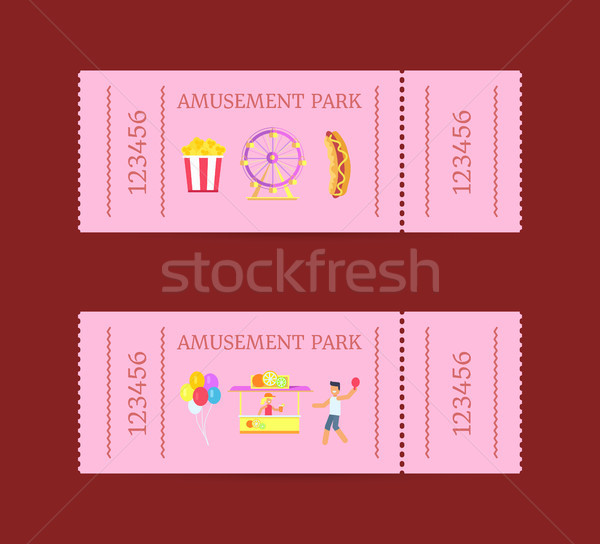 Wesołe miasteczko bilet zestaw kolekcja sztuk papieru Zdjęcia stock © robuart