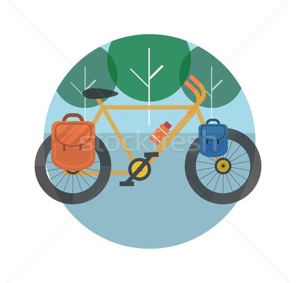 Foto d'archivio: Bicicletta · alberi · turismo · icone · pianificazione