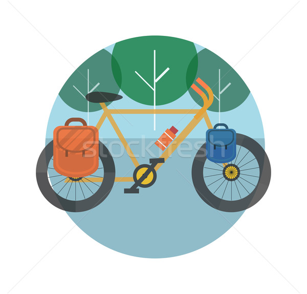 Fahrrad Bäume Tourismus Symbole Planung Stock foto © robuart