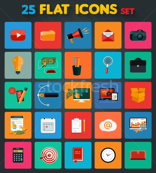 Business, office and marketing items icons Stock photo © robuart