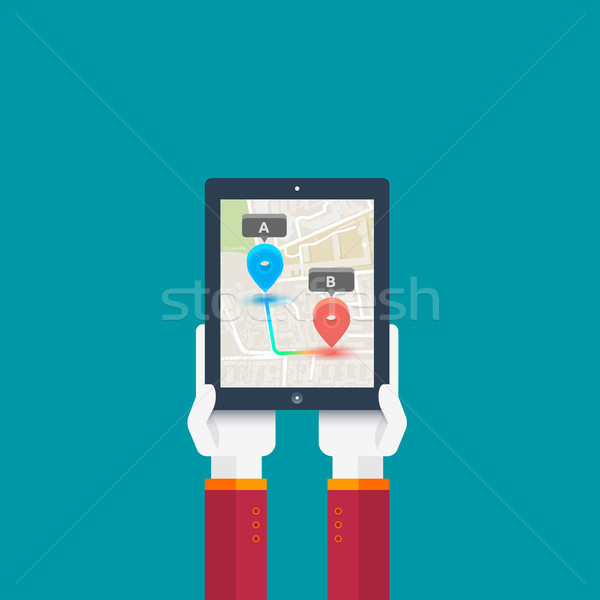 Hands hold smartphone with imaginary city Stock photo © robuart