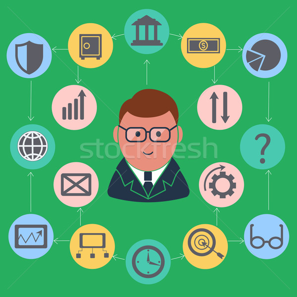 Businessman surrounded finance activities icons Stock photo © robuart