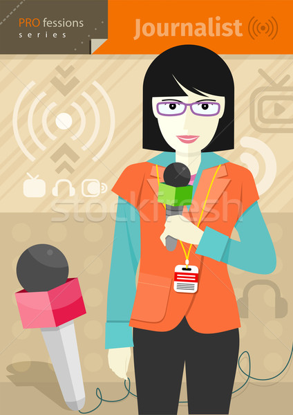 Female journalist with badge holding microphone Stock photo © robuart