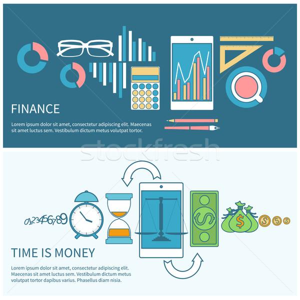Il tempo è denaro finanziare smartphone scale business icone Foto d'archivio © robuart