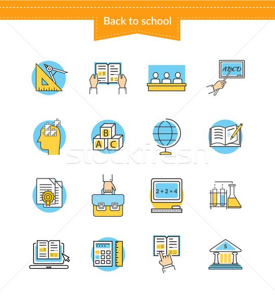 Set icone stile istruzione simbolo Foto d'archivio © robuart