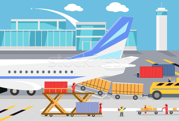 Loading Freight Containers in a Cargo Plane Stock photo © robuart