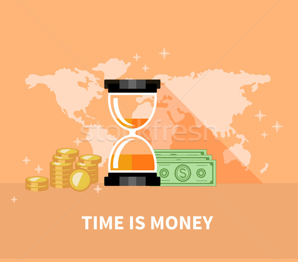 Time is Money Concept. Hourglass Coins Stock photo © robuart