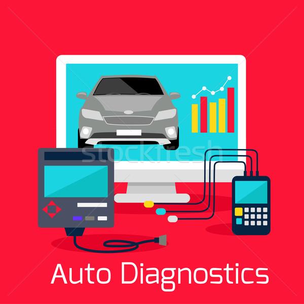 Auto Diagnostics Monitor Flat Concept Stock photo © robuart