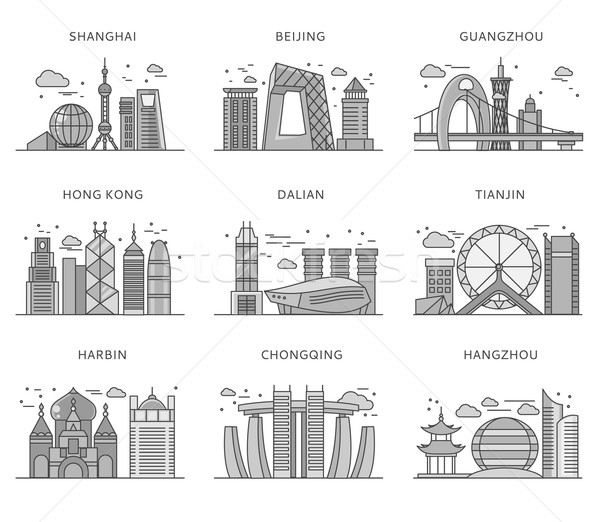 Icons Chinese Major Cities Flat Style Stock photo © robuart