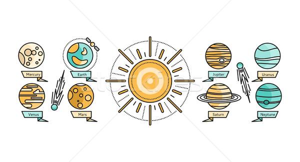 Солнечная система икона дизайна стиль земле планеты Сток-фото © robuart