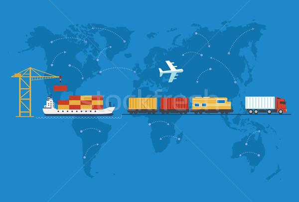 Stockfoto: Scheepvaart · levering · auto · schip · vliegtuig · vervoer