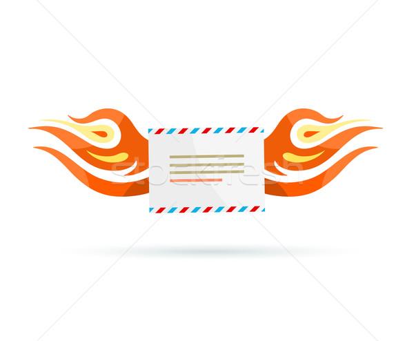 Icona consegna busta fuoco design Foto d'archivio © robuart