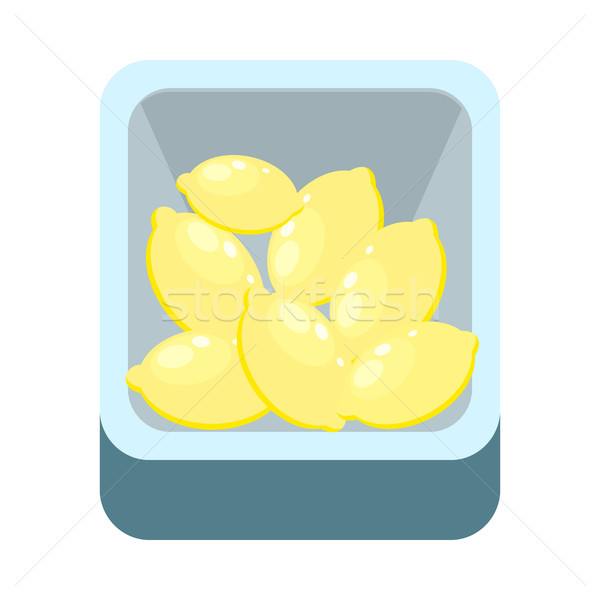 Lemons in Tray Isolated on White. Citron Lime Stock photo © robuart