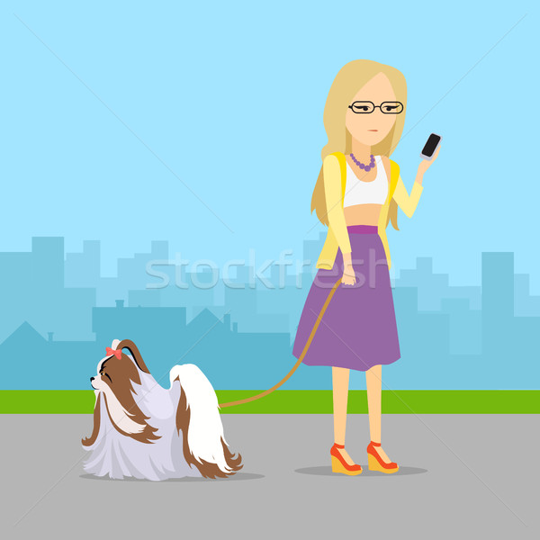 Phlegmatic Temperament Type Girl with Dog. Stock photo © robuart