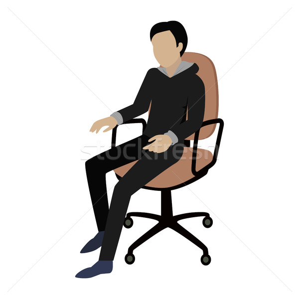 Man Sitting on the Chair and Listening Attentively Stock photo © robuart