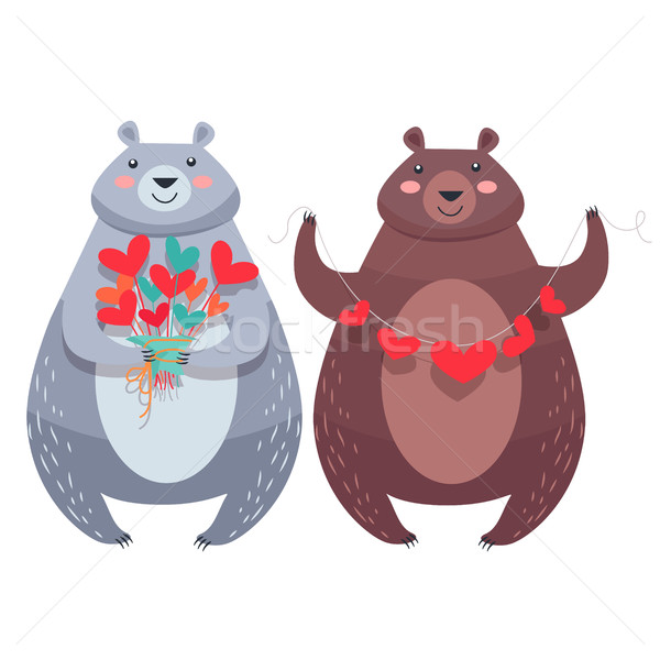 Valentine Bears with Necklace of Hearts, Flowers Stock photo © robuart
