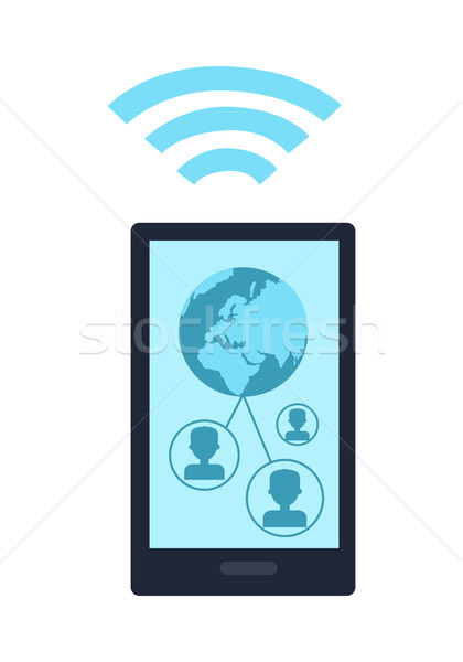 Mobile Phone with Wireless Sign Icon Isolated Stock photo © robuart