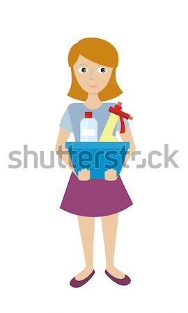 Lid schoonmaken dienst glas schonere vrouwelijke Stockfoto © robuart