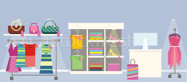 Woman s Clothes Shop Concept Vector Illustration. Stock photo © robuart
