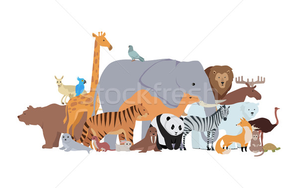 Animals of Different Spices Banner. Zoo Poster Stock photo © robuart