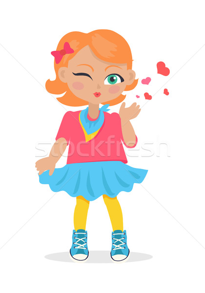 Young Girl Sent Air Kiss Isolated on White. Vector Stock photo © robuart
