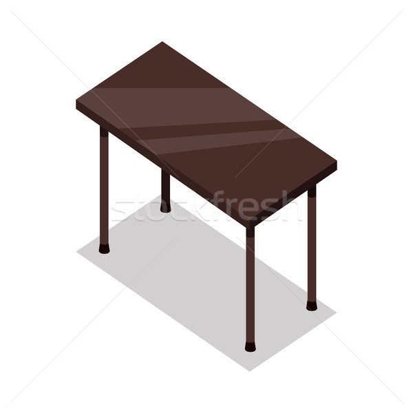 Isometric Wooden Table in Flat Stock photo © robuart