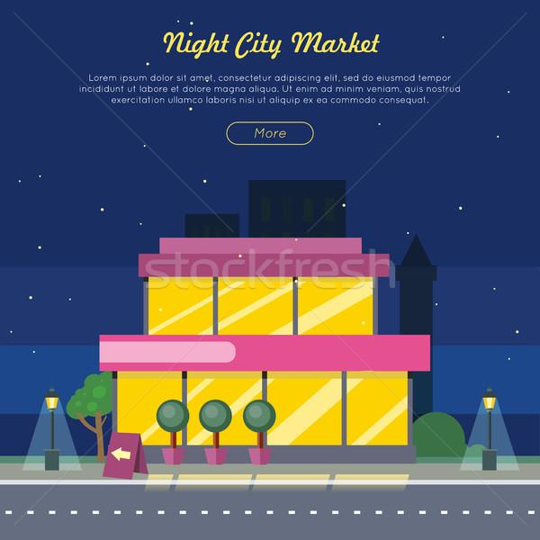 Nacht stad markt weg web banner Stockfoto © robuart