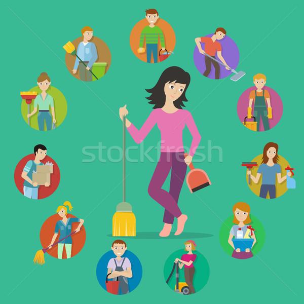 Ingesteld avatar schoonmaken dienst mannelijke vrouwelijke Stockfoto © robuart