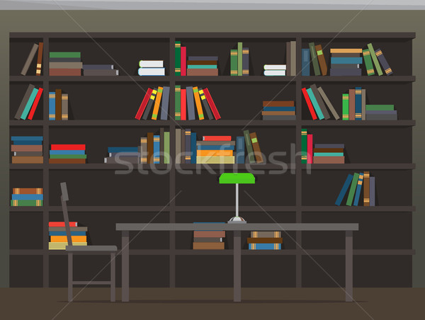 Library Interior with Bookshelves Flat Vector Stock photo © robuart