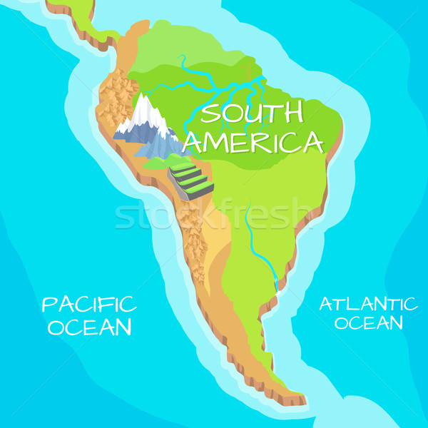 South America Map with Natural Attractions Stock photo © robuart