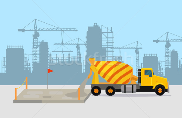 Pouring Concrete on Construction Vector Concept Stock photo © robuart
