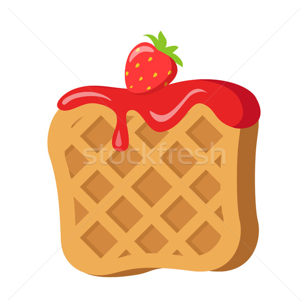 Sweets. Belgian Waffle with Red Strawberry Cream Stock photo © robuart