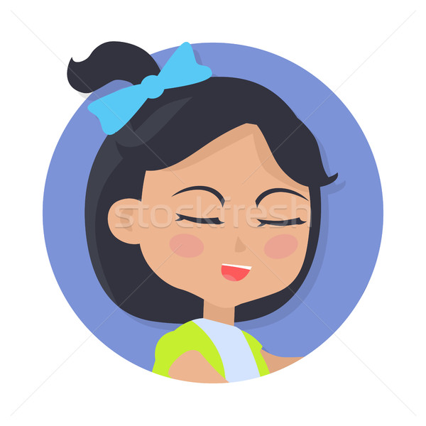 Speaking Girl with Black Hair and Blue Bow on Head Stock photo © robuart