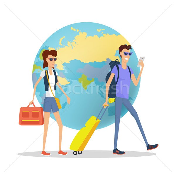 People on Vacation Concept Flat Design Vector Stock photo © robuart