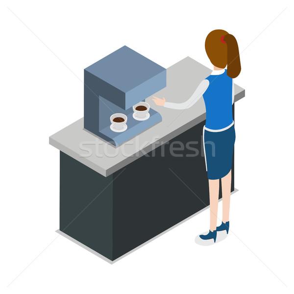 Restaurant Kellnerin stehen Kaffeemaschine blau einheitliche Stock foto © robuart