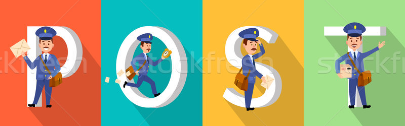POST Colourful Poster with Big Letters and Mailman Stock photo © robuart