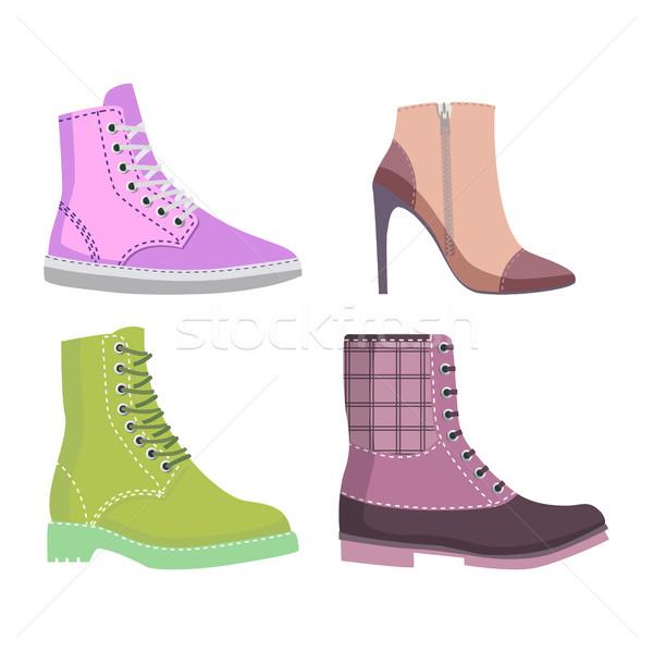 Invierno zapatos de mujer establecer ilustraciones otono cuatro Foto stock © robuart