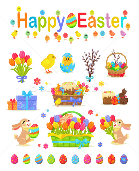 Happy Easter Traditional Elements Concept Poster Stock photo © robuart