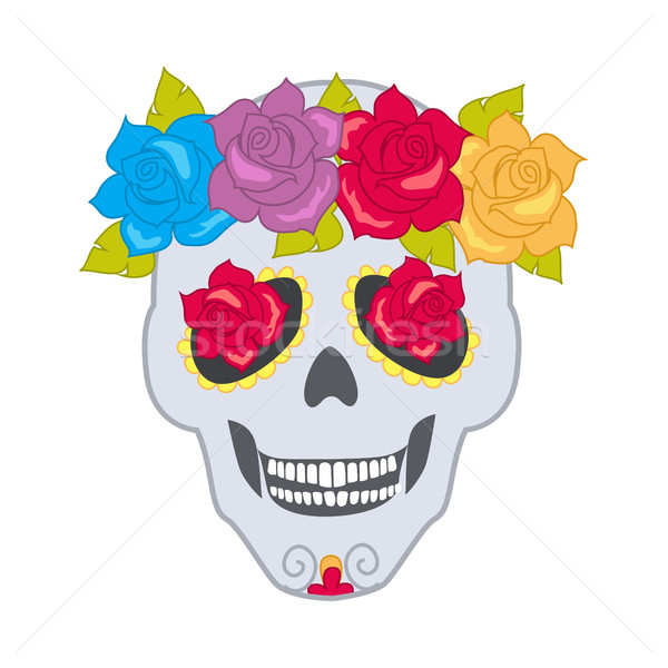Human Skull and Flower Wreath. Isolated Cranium Stock photo © robuart