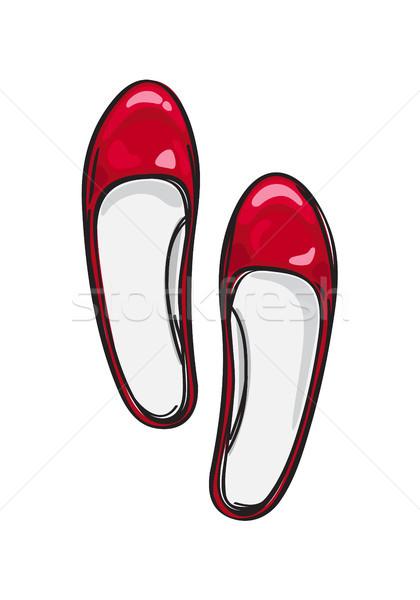 Red Ballerina Flat Shoes Isolated Illustration Stock photo © robuart