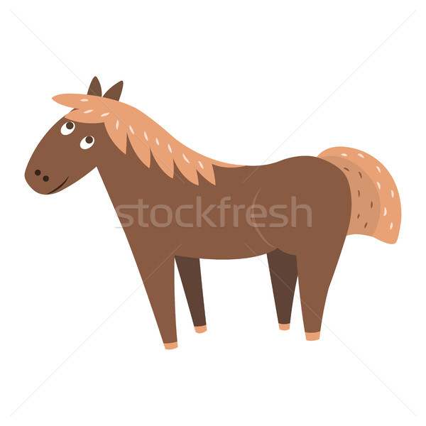 Cute Horse Cartoon Flat Vector Sticker or Icon Stock photo © robuart