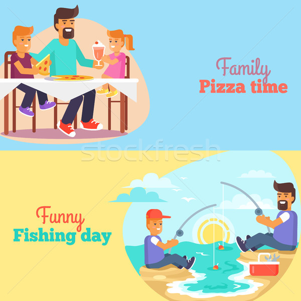Dad celebrating Father s Day with Children Poster Stock photo © robuart