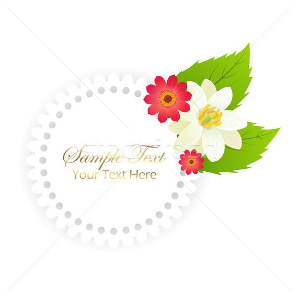 Happy Holiday Postcard with Flowers in Round Frame Stock photo © robuart