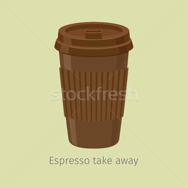Take Away Espresso in Paper Cup with Lid Flat Vector Stock photo © robuart