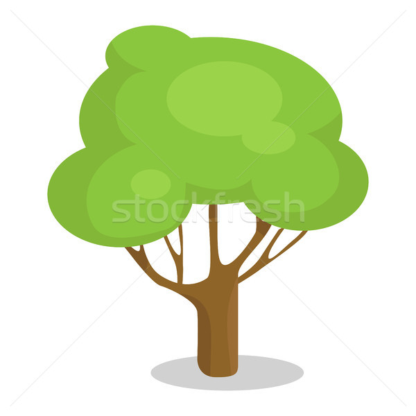 Green Tree with Trunk Vector Illustration Icon Stock photo © robuart