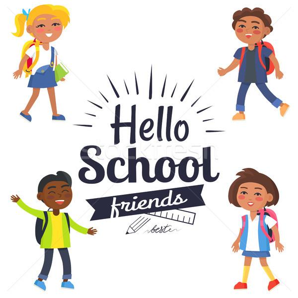Hallo school vrienden sticker leerlingen vector Stockfoto © robuart