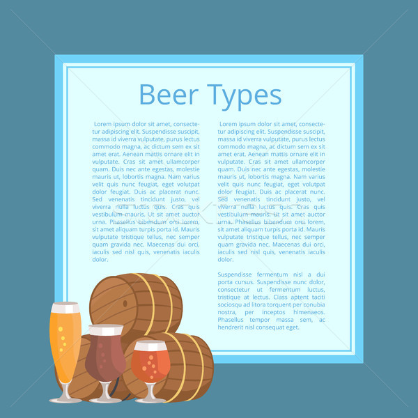 Beer Types Poster Depicting Barrels and Glasses Stock photo © robuart