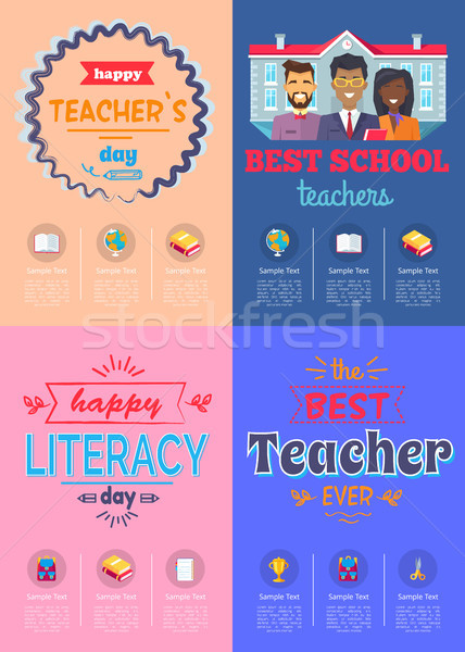 Four Posters Teachers Day Vector Illustration Stock photo © robuart